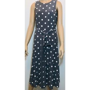 Lauren Ralph Lauren Gray White Polka Dot Fit Flare